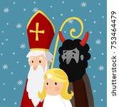 saint nicholas with angel ... | Shutterstock .eps vector #753464479