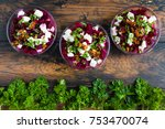 healthy beet salad with cheese  ... | Shutterstock . vector #753470074