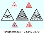 all seeing eye of god  eye of... | Shutterstock .eps vector #753472579