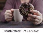 breakfast of coffee and... | Shutterstock . vector #753473569