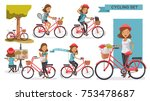 cycling woman set. female... | Shutterstock .eps vector #753478687