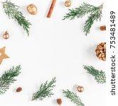 christmas composition.... | Shutterstock . vector #753481489