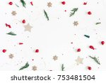 christmas composition. frame... | Shutterstock . vector #753481504