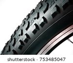 macro of mtb tire isolated on... | Shutterstock . vector #753485047