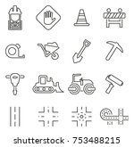 road construction icons thin... | Shutterstock .eps vector #753488215