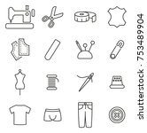 tailor shop icons thin line... | Shutterstock .eps vector #753489904