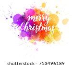 multicolored splash watercolor... | Shutterstock .eps vector #753496189