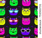 abstract seamless cat pattern... | Shutterstock .eps vector #753503731