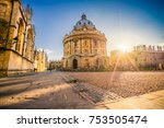 Radcliffe Science Library with sunset flare.Oxford, England