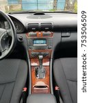 Small photo of Cluj Napoca/Romania-November 11, 2017: Mercedes Benz W203-year 2006, Elegance equipment;luxury leather interior, heated seats buttons, headrest controls, cruise control, dashboard-C Class