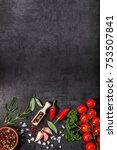 herbs and spices over black... | Shutterstock . vector #753507841