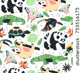 seamless pattern with exotic... | Shutterstock .eps vector #753516175