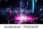 3d render  abstract futuristic... | Shutterstock . vector #753516187