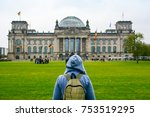 young woman with backpack... | Shutterstock . vector #753519295