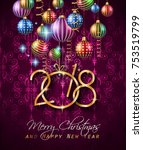 2018 happy new year background... | Shutterstock .eps vector #753519799