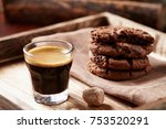 chocolate cookies and a glass...   Shutterstock . vector #753520291