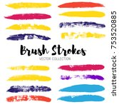 brush strokes set backgrounds.... | Shutterstock .eps vector #753520885
