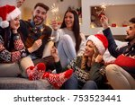 smiling young people with... | Shutterstock . vector #753523441