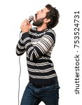 man with beard singing with... | Shutterstock . vector #753524731