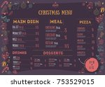 christmas menu design with... | Shutterstock .eps vector #753529015