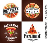 vector pizza logo and design... | Shutterstock .eps vector #753529591