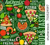 vector pizza seamless pattern... | Shutterstock .eps vector #753529597