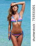 beautiful slim woman in bikini... | Shutterstock . vector #753531001