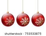three red christmas ball... | Shutterstock .eps vector #753533875