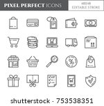 shopping relaited pixel perfect ... | Shutterstock .eps vector #753538351