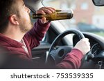 drunk man driving his car and... | Shutterstock . vector #753539335
