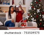 christmas selfie smiling father ... | Shutterstock . vector #753539575