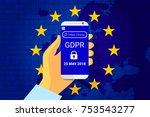 gdpr   general data protection... | Shutterstock .eps vector #753543277