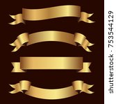 set of golden ribbons vector. | Shutterstock .eps vector #753544129