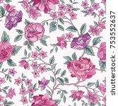 floral seamless pattern. flower ... | Shutterstock .eps vector #753552637