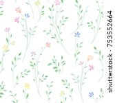 floral seamless pattern. flower ... | Shutterstock .eps vector #753552664