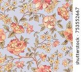 floral seamless pattern. flower ... | Shutterstock .eps vector #753552667