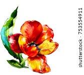 Watercolor Wild Tulip Flower...