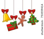 merry christmas tree gift... | Shutterstock .eps vector #753559414