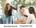 cheater caught by his sad... | Shutterstock . vector #753559729