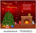 merry christmas greeting card... | Shutterstock .eps vector #753565021