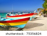 Colorful Tropical Boats Beache...