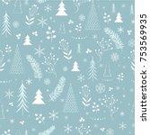 seamless christmas pattern | Shutterstock .eps vector #753569935