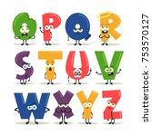 funny cartoon alphabet   set 2... | Shutterstock .eps vector #753570127
