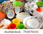 many different dishes. plates ... | Shutterstock . vector #753570151