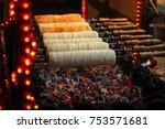 kurtos kalacs  chimney cakes ... | Shutterstock . vector #753571681