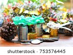 celebrate new year with coins... | Shutterstock . vector #753576445
