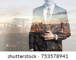 businessman in the city. double ...   Shutterstock . vector #753578941