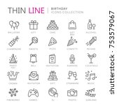 collection of birhtday thin... | Shutterstock .eps vector #753579067
