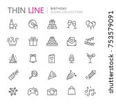 collection of birhtday thin... | Shutterstock .eps vector #753579091