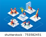 isometric business workflow | Shutterstock .eps vector #753582451